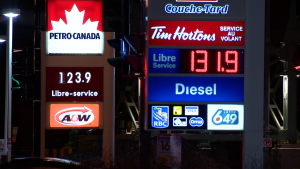 Montreal drivers will notice a dramatic spike in gas prices since the beginning of the week, with pumps charging $1.32/L as of Thursday morning. (Cosmo Santamaria/CTV News)