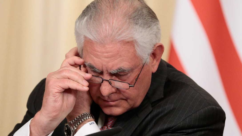 U.S. Secretary of State Rex Tillerson adjusts an earpiece during a shared press conference with Russian Foreign Minister Sergey Lavrov following their talks in Moscow, Russia, Wednesday, April 12, 2017. (AP Photo/Ivan Sekretarev)