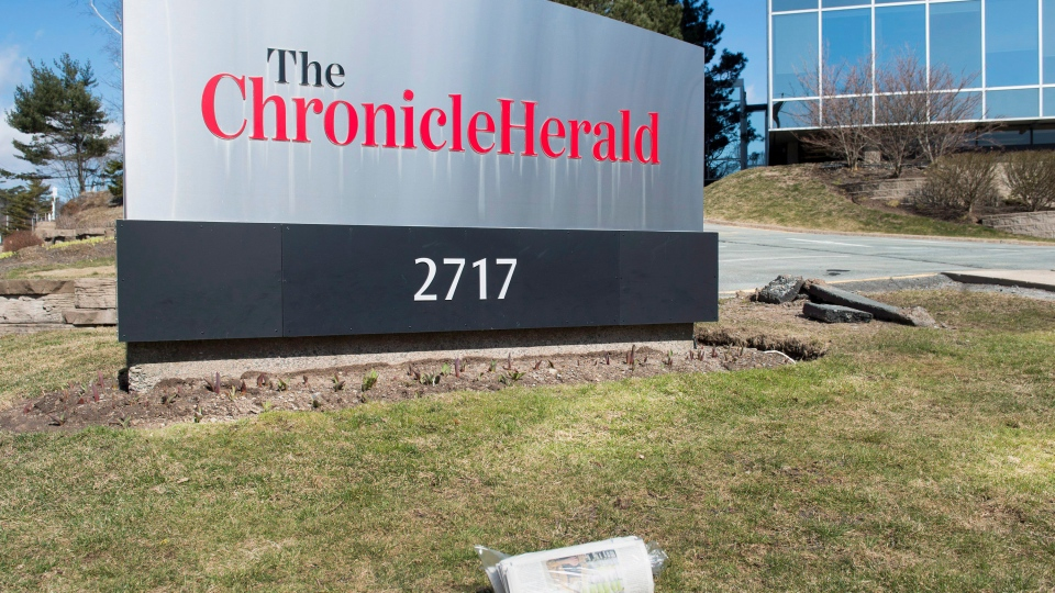 The Chronicle Herald sign is seen in Halifax on Thursday, April 13, 2017. SaltWire Network Inc., a media group that publishes the Chronicle Herald, announced it is purchasing all Transcontinental papers in Atlantic Canada. (Andrew Vaughan / THE CANADIAN PRESS)