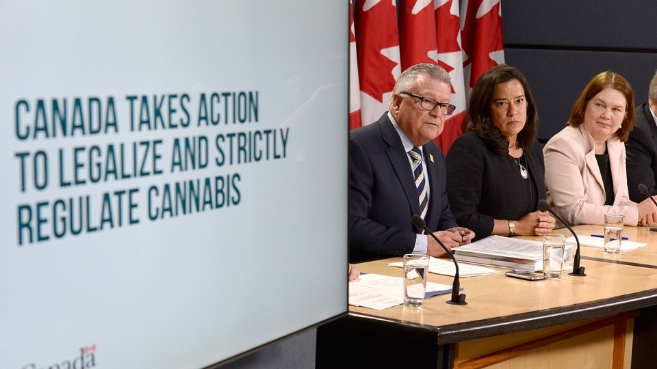 Minister of Public Safety and Emergency Preparedness Ralph Goodale, left to right, Justice Minister and Attorney General of Canada Jody Wilson-Raybould, and Health Minister Jane Philpott announce changes regarding the legalization of marijuana during a news conference in Ottawa, Thursday, April 13, 2017. (Adrian Wyld / THE CANADIAN PRESS/)