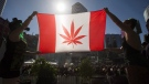 "Two people hold a modified design of the Canadian flag with a marijuana leaf in in place of the maple leaf during the ""420 Toronto"" rally in Toronto, April 20, 2016. (THE CANADIAN PRESS/Mark Blinch)"