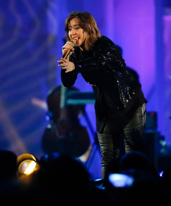 Serena Ryder performs during the closing ceremony of the Pan Am Games Sunday, July 26, 2015, in Toronto. (AP Photo/Julio Cortez)