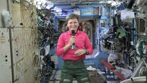 In this Thursday, April 13, 2017 image from video made available by NASA, astronaut Peggy Whitson speaks during an interview aboard the International Space Station. (NASA via AP)
