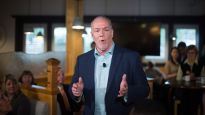 NDP Leader John Horgan speaks about details of the party's election platform after its release during a campaign stop at an Italian restaurant in Coquitlam, B.C., on Thursday April 13, 2017. THE CANADIAN PRESS/Darryl Dyck