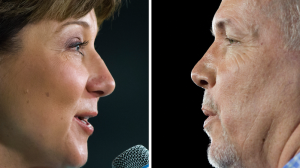 In this composite image, made from two photographs, Liberal Leader Christy Clark, left, and Liberal Leader Christy Clark, left, and NDP Leader John Horganare seen while speaking during campaign stops. THE CANADIAN PRESS/Darryl Dyck