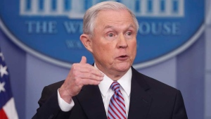 FILE - In this March 27, 2017 file photo, Attorney General Jeff Sessions speaks at the White House in Washington. (AP Photo/Pablo Martinez Monsivais, File)