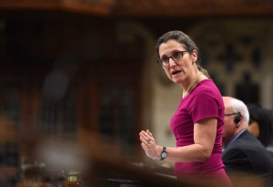 Minister of Foreign Affairs Chrystia Freeland responds to a question during question period in the House of Commons on Parliament Hill in Ottawa on Thursday, April 13, 2017. (THE CANADIAN PRESS/Sean Kilpatrick)