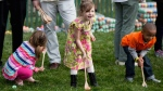 Children participate in the White House Easter Egg Roll on the South Lawn of the White House in Washington, Monday, March 28, 2016. Thousands of children gathered at the White House for the annual Easter Egg Roll. This year's event features  live music, sports courts, cooking stations, storytelling, and Easter egg rolling. (AP Photo/Andrew Harnik)
