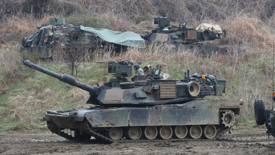 A U.S. Army tank moves during a military exercise in Paju, near the border with North Korea, South Korea, Friday, April 14, 2017. (AP Photo / Ahn Young-joon)