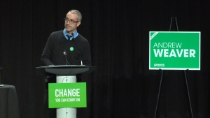 B.C. Green Party candidate Mark Neufeld impersonates Martin Luther King Jr. during a campaign event on April 12, 2017. (CTV)