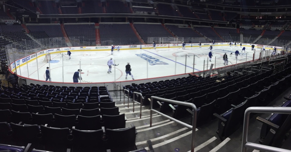 The Maple Leafs take the ice in Washington for a morning skate. (Nick Dixon /CP24)