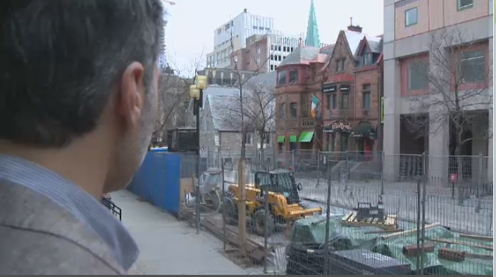 Carlo Zagabi, the owner of Gourmet burger on Bishop St., overlooks the construction zone that's halted foot traffic on the street. (CTV News)