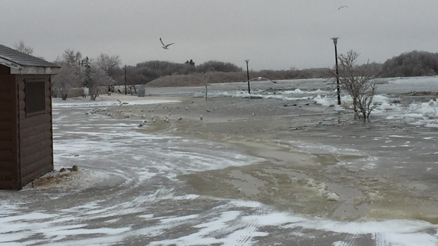 An ice jam caused flooding on the Saskatchewan River in The Pas in the R.M. of Kelsey. (Source: Jim Scott)