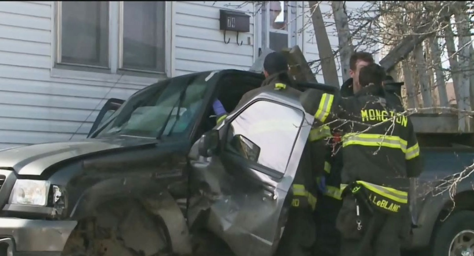 Three people were sent to hospital following this crash in Moncton on Saturday.