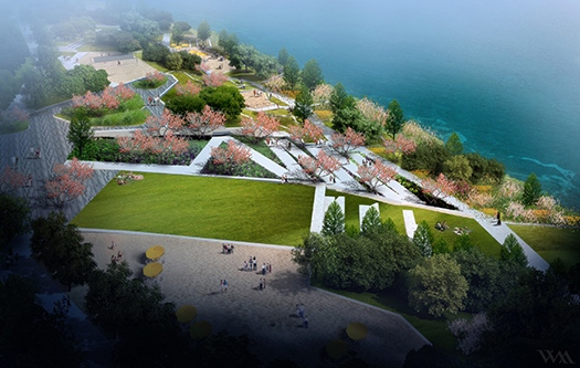 These concept photos for the Verdun beach show expanses of green spaces and lots of gardens. (Photo courtesy of Verdun Borough)