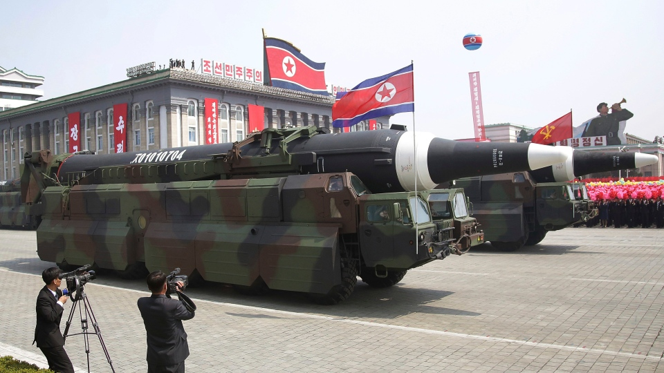 In this Saturday, April 15, 2017 photo, in what military experts say appears to be a North Korean KN-08 Intercontinental Ballistic Missile (ICMB) is paraded across Kim Il Sung Square during a military parade in Pyongyang, North Korea (Wong Maye-E/AP)