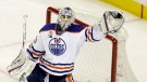 Edmonton Oilers goalie Cam Talbot stops a shot against the San Jose Sharks during the third period in Game 3 of a first-round NHL hockey playoff series April 16, 2017, in San Jose, Calif. (Marcio Jose Sanchez/AP)