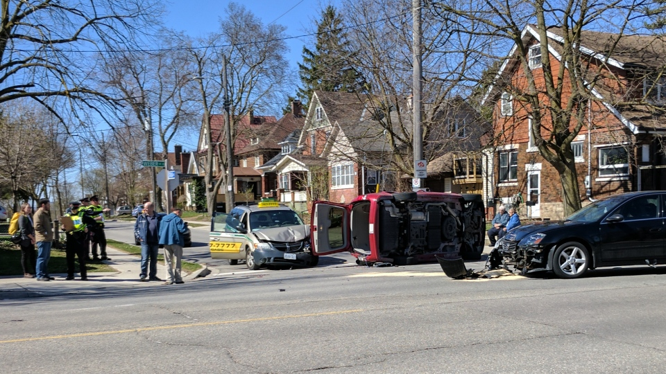 Minor injuries were reported following a three-vehicle crash at Weber Street and Stirling Avenue in Kitchener on Monday, April 17, 2017. (Marta Czurylowicz / CTV Kitchener)