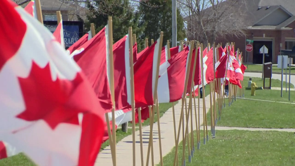Flags line the entrance to the Plattsville Arena during the Pte. Tyler W. Todd hockey tournament on Friday, April 14, 2017.