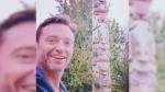 Hugh Jackman visits Stanley Park totem poles