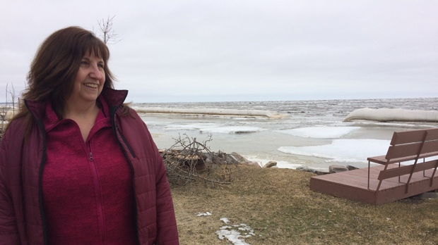 Debbie Thorkelsson and her husband are spending their first spring as full-time residents of Delta Beach, and are watching the water levels on the lake closely. (Source: Josh Crabb/CTV News)