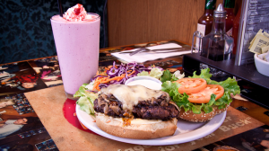 A hamburger and milkshake from Burger Heaven in New Westminster are seen in this undated photo. (BurgerHeaven.ca)