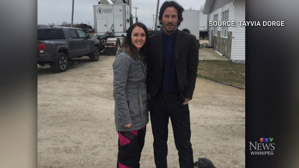 Tayvia Dorge managed to snap a photo with the movie star in Marquette, Man. (Tayvia Dorge)