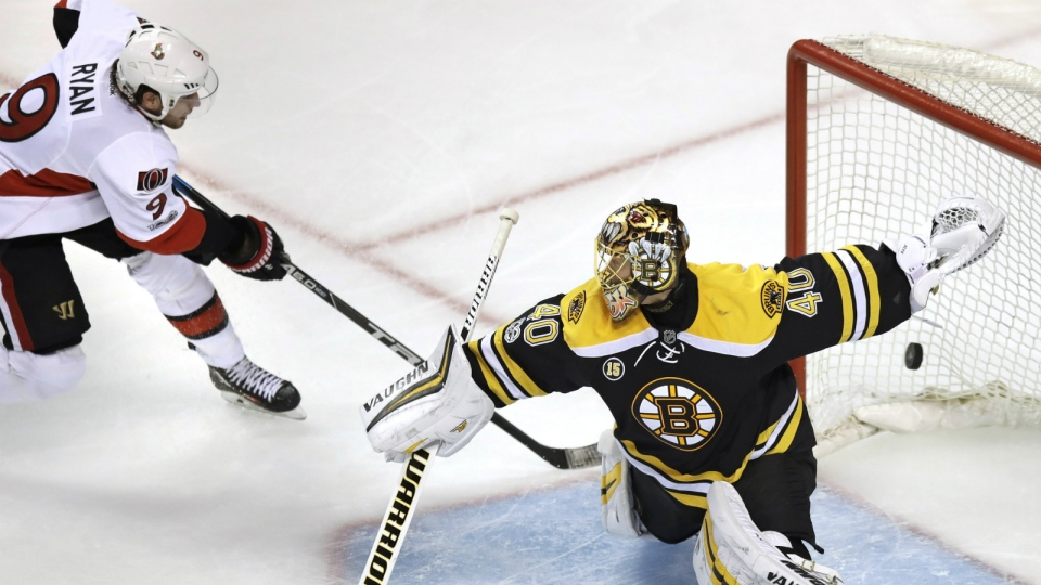Ottawa Senators right wing Bobby Ryan beats Boston Bruins goalie Tuukka Rask for the game winning goal during overtime in Game 3 of a first-round NHL hockey playoff series in Boston on Monday, April 17, 2017. (AP / Charles Krupa)