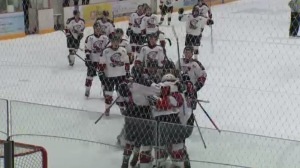 The Ayr Centennials celebrate after a win against the Essex 73's that advances them to the Schmalz Cup finals (CTV Kitchener)