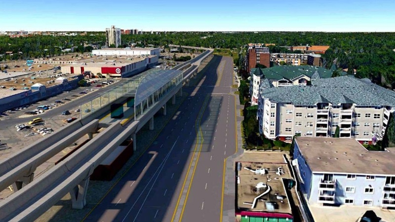 An image from a city report shows what the Valley LRT Line could look like if it was raised above grade. Supplied.