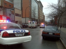 Police block both sides of Homer Street in downtown Vancouver after a fatal shooting on March 20, 2009.  (Renu Bakshi/CTV)