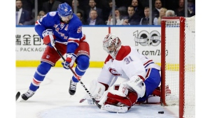 New York Ranger Rick Nash scores on Canadien Carey Price in Game 4 of the first round of the 2017 playoffs (AP Photo/Frank Franklin II)