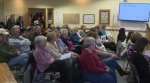 Residents pack a council meeting in Erin after council voted four to one to accept a voluntary levy from Nestlé Waters Canada (CTV Kitchener)