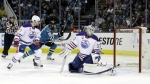 Edmonton Oilers goalie Cam Talbot (33) is beaten for a goal on a shot from San Jose Sharks' Joe Pavelski, not seen, during the first period in Game 4 of a first-round NHL hockey playoff series Tuesday, April 18, 2017, in San Jose, Calif. (AP / Marcio Jose Sanchez)