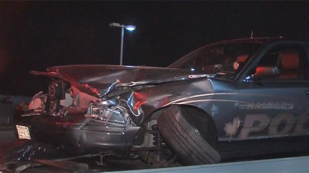 A Halton Regional Police cruiser was damaged during a high-speed pursuit in Burlington overnight.