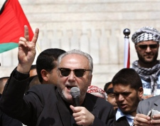British lawmaker George Galloway speaks during a press conference in Gaza City, Tuesday, March 10, 2009. (AP / Hatem Moussa)
