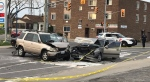 Three vehicles were involved in a crash in Windsor on Tuesday, April 18, 2017. (Angelo Aversa / CTV Windsor)