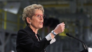 Ontario Premier Kathleen Wynne speaks at the Ford Essex Engine Plant in Windsor, Ont. on March 30, 2017. (Dave Chidley / THE CANADIAN PRESS)