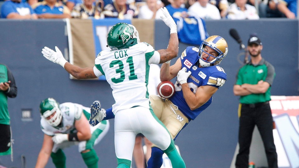 Winnipeg Blue Bombers' Julian Feoli-Gudino (83) is able to hang onto this pass with tight coverage from Saskatchewan Roughriders' Justin Cox (31) during the second half of CFL Banjo Bowl action in Winnipeg Saturday, September 10, 2016. THE CANADIAN PRESS/John Woods