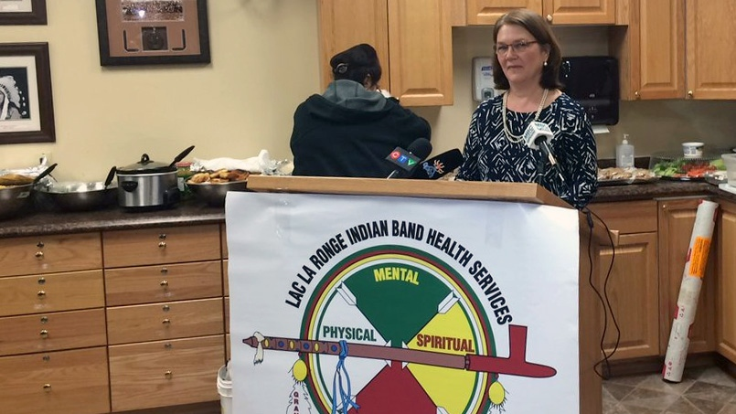 Health Minister Jane Philpott speaks to media in La Ronge, Sask., on Wednesday, April 19, 2017. (Rebekah Lesko/CTV Prince Albert)