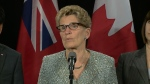 Premier Wynne speaks to reporters on April 19, 2017.