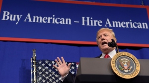 In this Tuesday, April 18, 2017, file photo, U.S. President Donald Trump speaks at tool manufacturer Snap-on Inc. in Kenosha, Wis. (AP Photo/Susan Walsh, File)