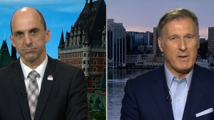 Conservative leadership candidates Maxime Bernier (right) and Steven Blaney (left) disagree on what should be done with Canada's supply management system.