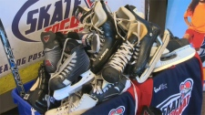 Cross-country campaign, skates, hockey equipment,