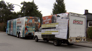 A travelling attack ad from the B.C. Liberals has been showing up at NDP events, but experts warn the tactic could backfire. April 19, 2017. (CTV)