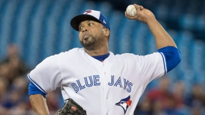 Toronto Blue Jays starting pitcher Francisco Liriano throws against the Boston Red Sox during the first inning of their AL baseball game in Toronto on Wednesday, April 19, 2017. (THE CANADIAN PRESS / Fred Thornhill)