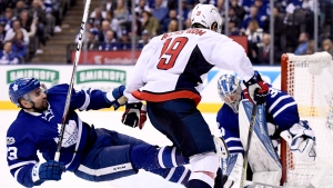 Toronto Maple Leafs centre Nazem Kadri (43) slides in to help block a shot from Washington Capitals centre Nicklas Backstrom (19) as Toronto Maple Leafs goalie Frederik Andersen (31) mans the net during third period NHL hockey round one playoff action in Toronto on Wednesday, April 19, 2017. (THE CANADIAN PRESS / Frank Gunn)