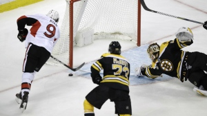 Ottawa Senators right wing Bobby Ryan shoots as Boston Bruins goalie Tuukka Rask tries to make a save on a goal during the third period of Game 4 of a first-round NHL hockey playoff series in Boston, Wednesday, April 19, 2017. (AP Photo/Charles Krupa)