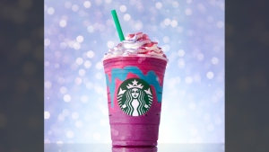 Starbucks' Unicorn Frappuccino is only available for a limited time in stores in Canada, the U.S. and Mexico. (Starbucks)