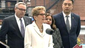 Ontario Premier Kathleen Wynne makes an announcement, Thursday, April 20, 2017.